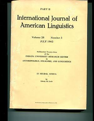 In Feudal Africa, International Journal of American Linguistics, Vol. 28, Nr. 3, Part II,: Loeb, ...