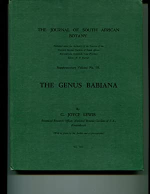 The Genus Babiana (The Journal of South African botany Supplementary Vollume No. III): Lewis, G ...