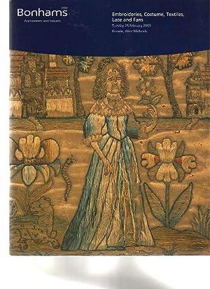 Bonhams 2003 Embroideries, Costume, Textiles, Lace &: Bonhams