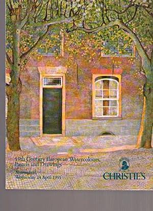 Christies 1991 19th C European Watercolours, Pastels,: Christies