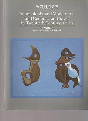 Sothebys 1992 Impressionist & Modern Art, Silver,: Sothebys