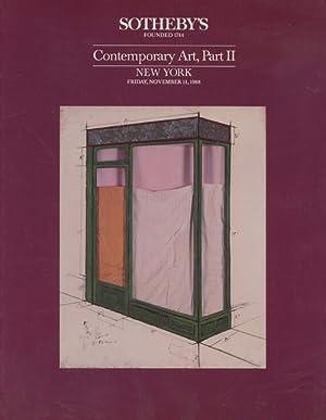Sothebys November 1988 Contemporary Art, Part II: Sothebys