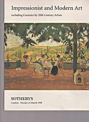 Sothebys 1998 Impressionist & Modern Art, Ceramics: Sothebys
