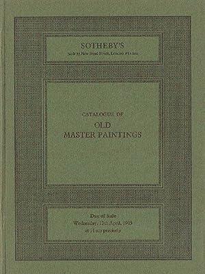 Sothebys April 1983 Old Master Paintings: Sothebys