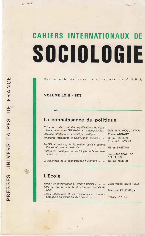 Cahiers Internationaux de Sociologie - Volume LXIII - 1977.