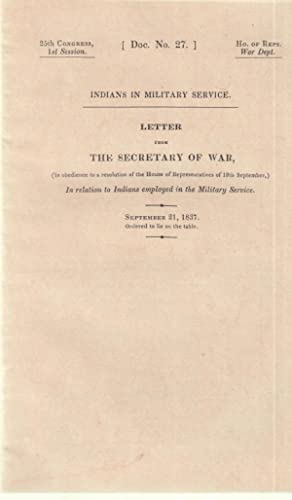 Indians in military service : letter from: United States. War