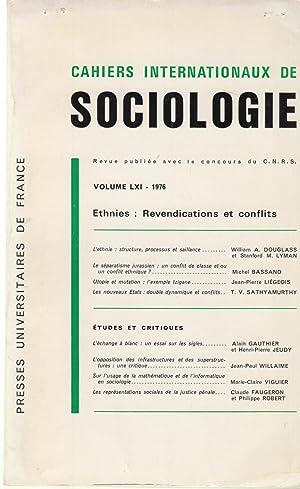 Cahiers Internationaux de Sociologie - Volume LXI: William A. Douglas,