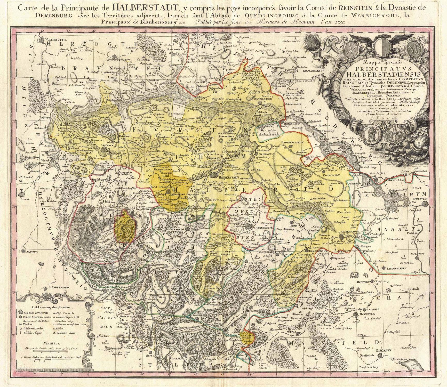 Carte De La Principaute De Halberstadt Y Compris Les Pays