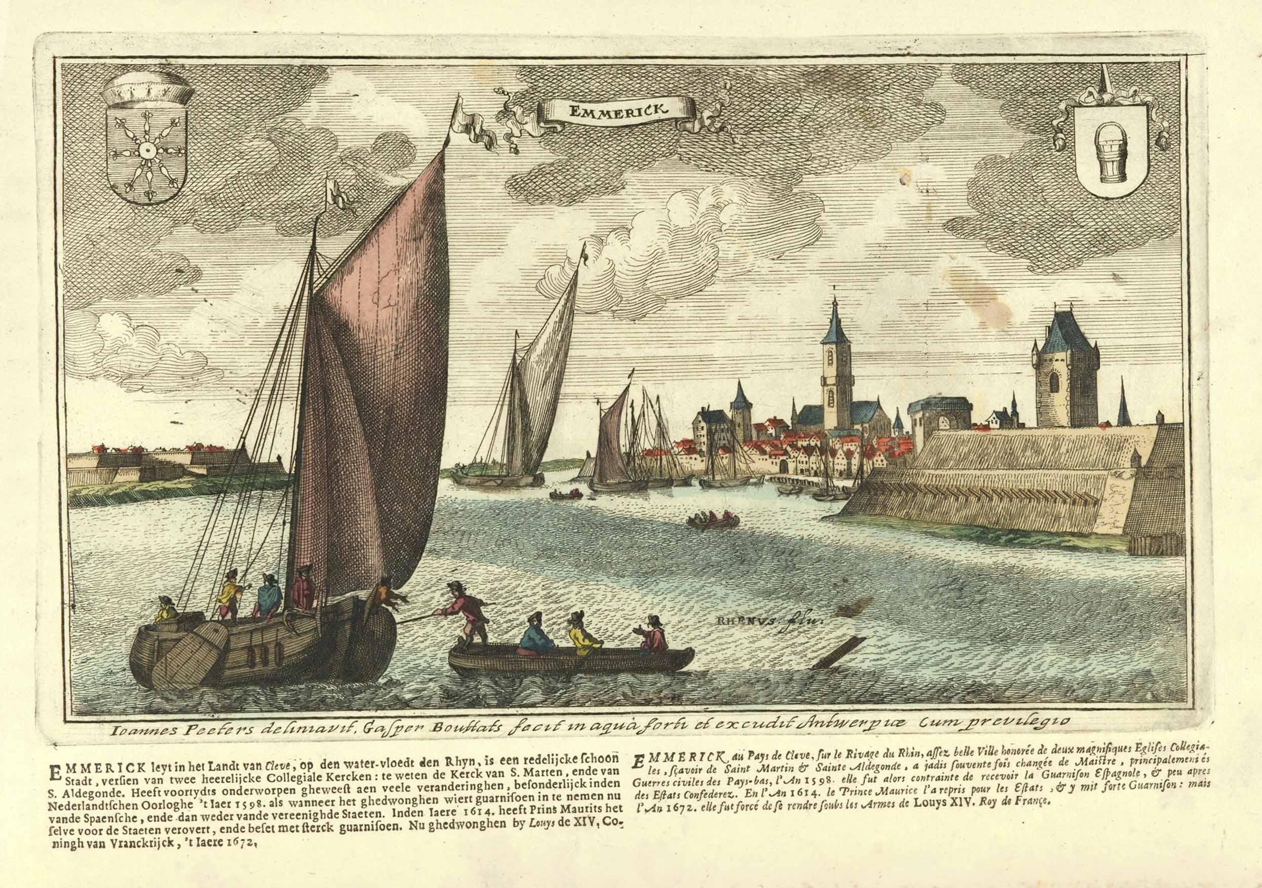 Gesamtansicht im Vgr. Rheinschiffe.: EMMERICH: