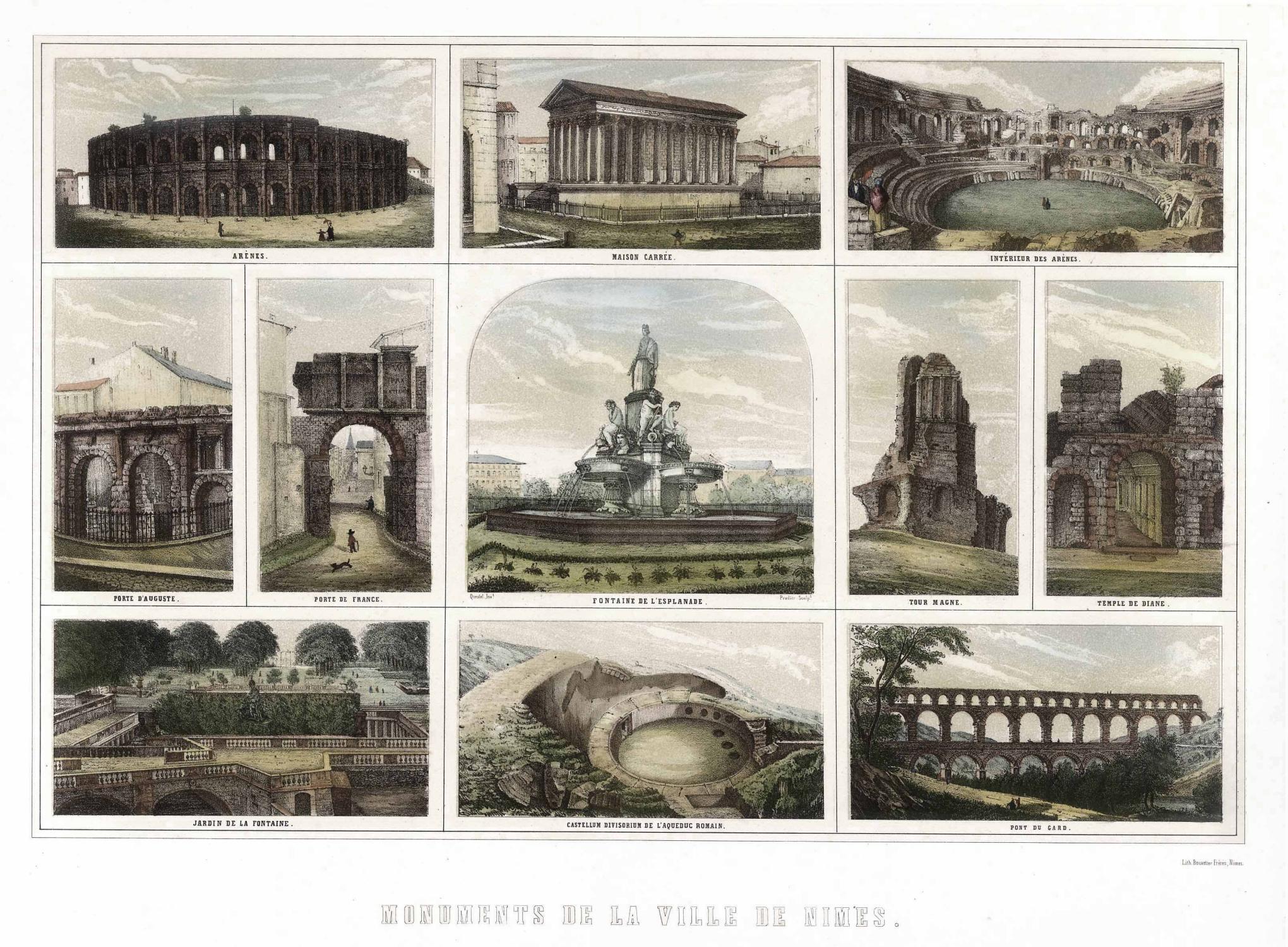 Souvenirblatt mit 11 Ansichten von Nimes u. Umgebung (\'Monuments De ...