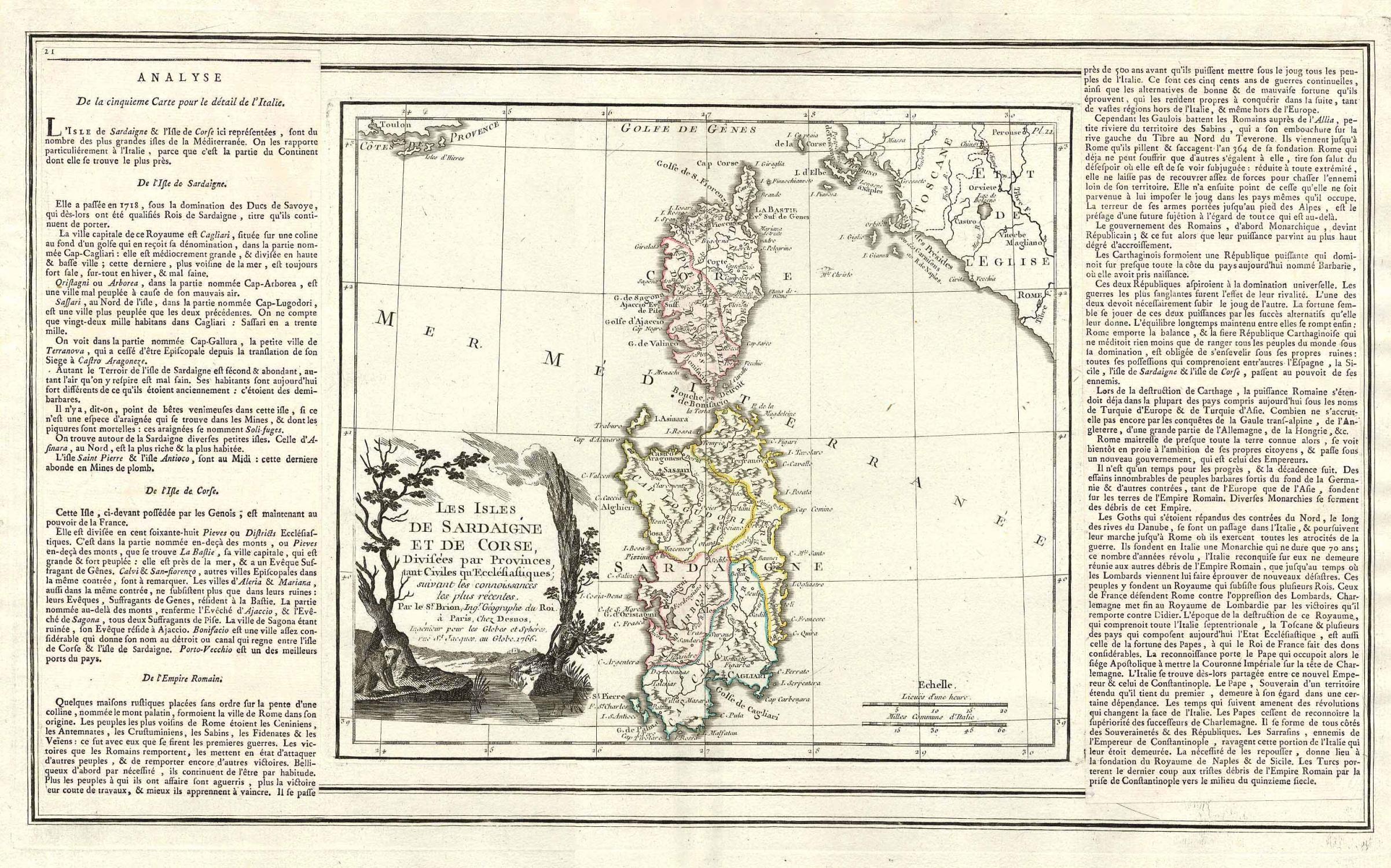 'Les Isles De Sardaigne Et De Corse, Divisées par Provinces, tant Civiles qu' Eccl...