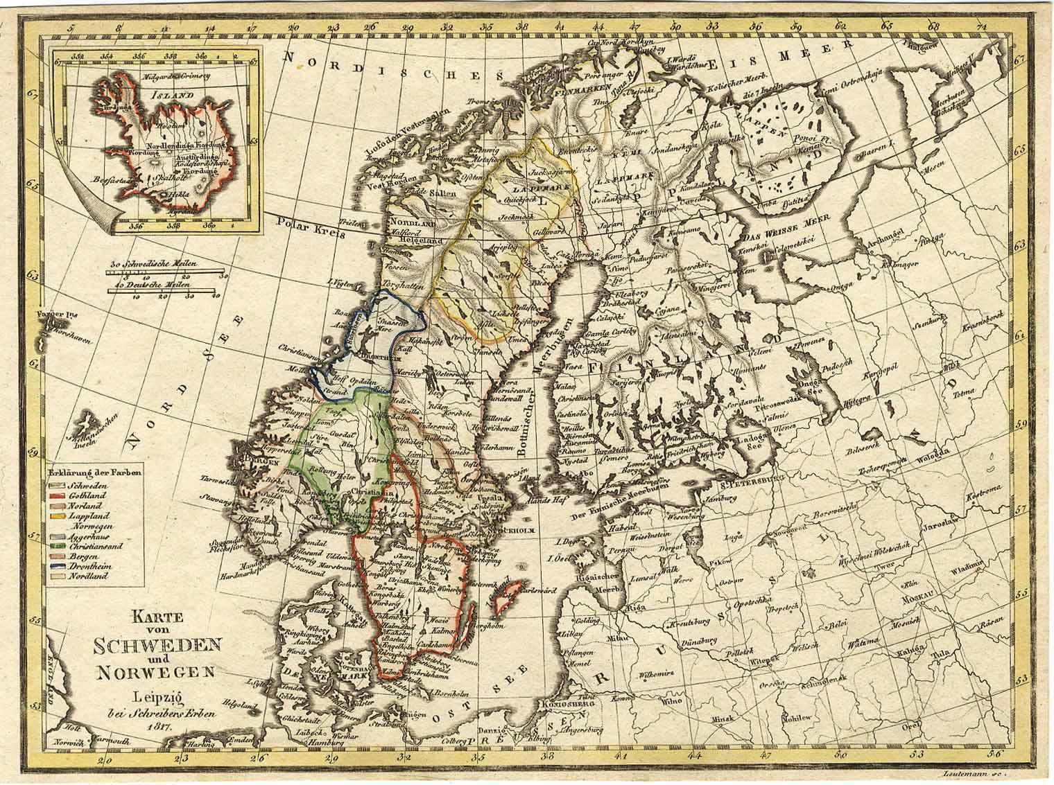 Karte Norwegen Schweden.Karte Von Schweden Und Norwegen Leipzig Bei