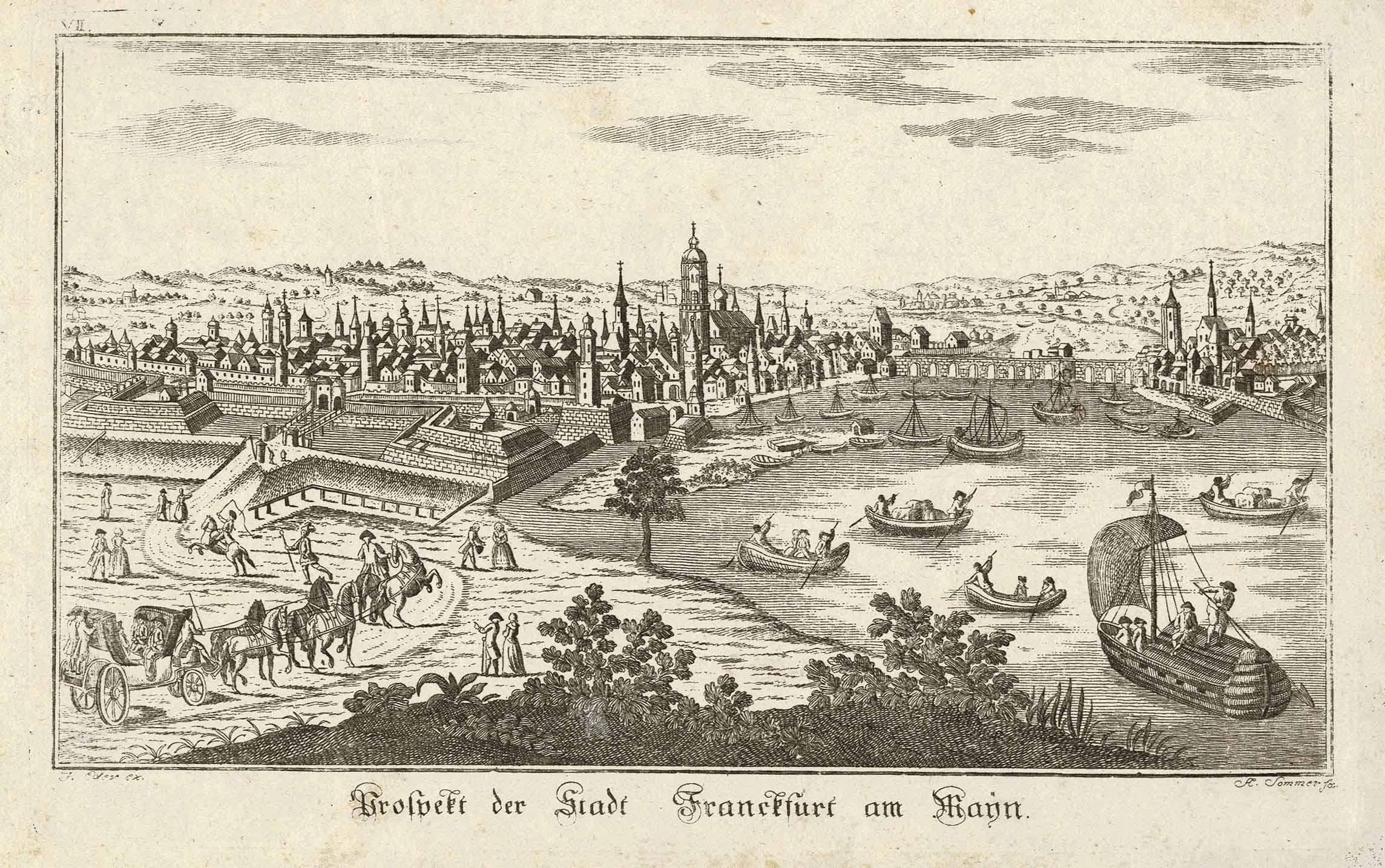 Gesamtansicht ('Prospect der Stadt Franckfurt am Mayn').: FRANKFURT: