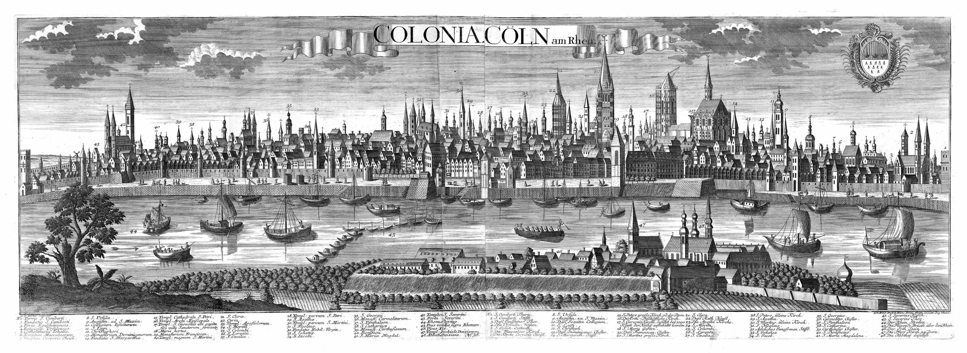 """Gesamtansicht über den Rhein (""""Colonia. - Cöln: KÖLN:"""