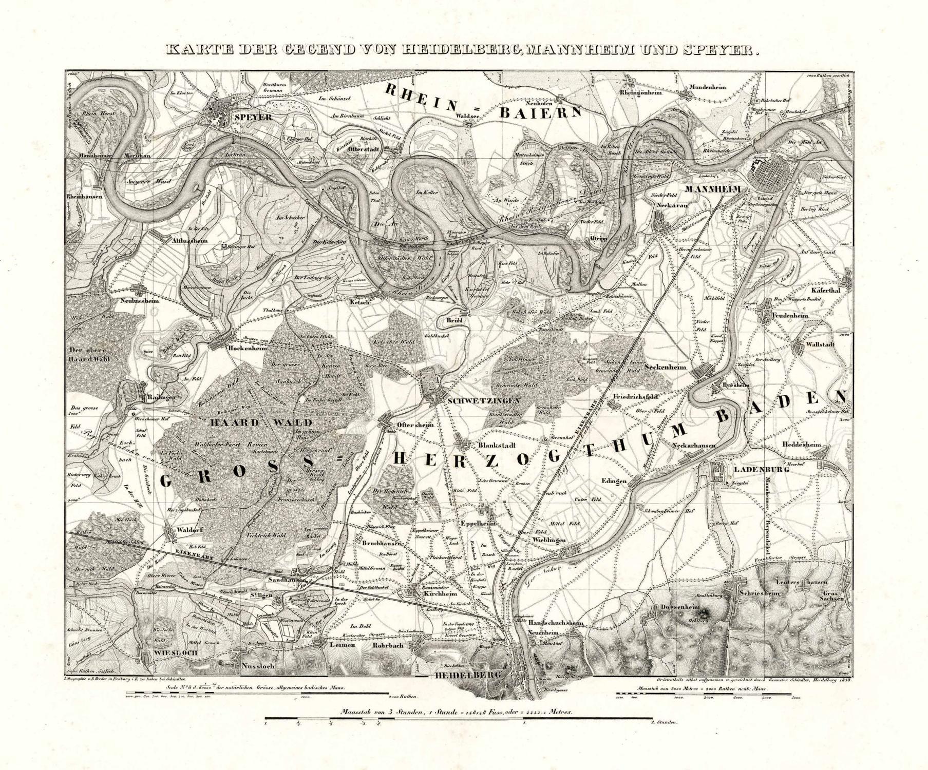 Karte Der Gegend Von Heidelberg Mannheim Und Speyer