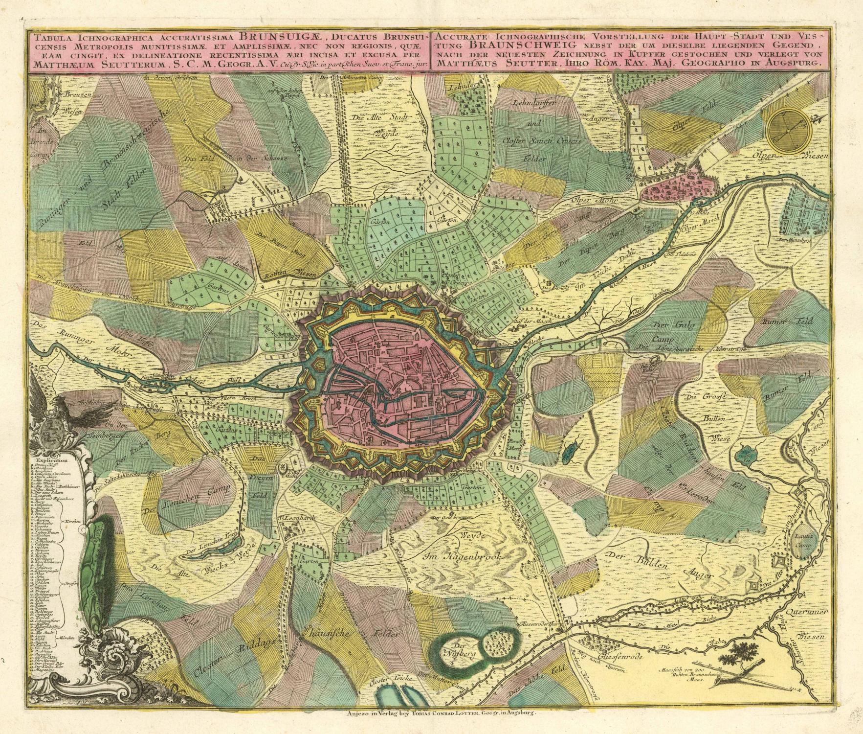 Befestigungsanlagen Mit Stadtplan Und Karte Der Umgebung (u0027Tabula  Ichnographica Accuratissima Brunsuigae .   Accurate Ichnographische  Vorstellung Der ...
