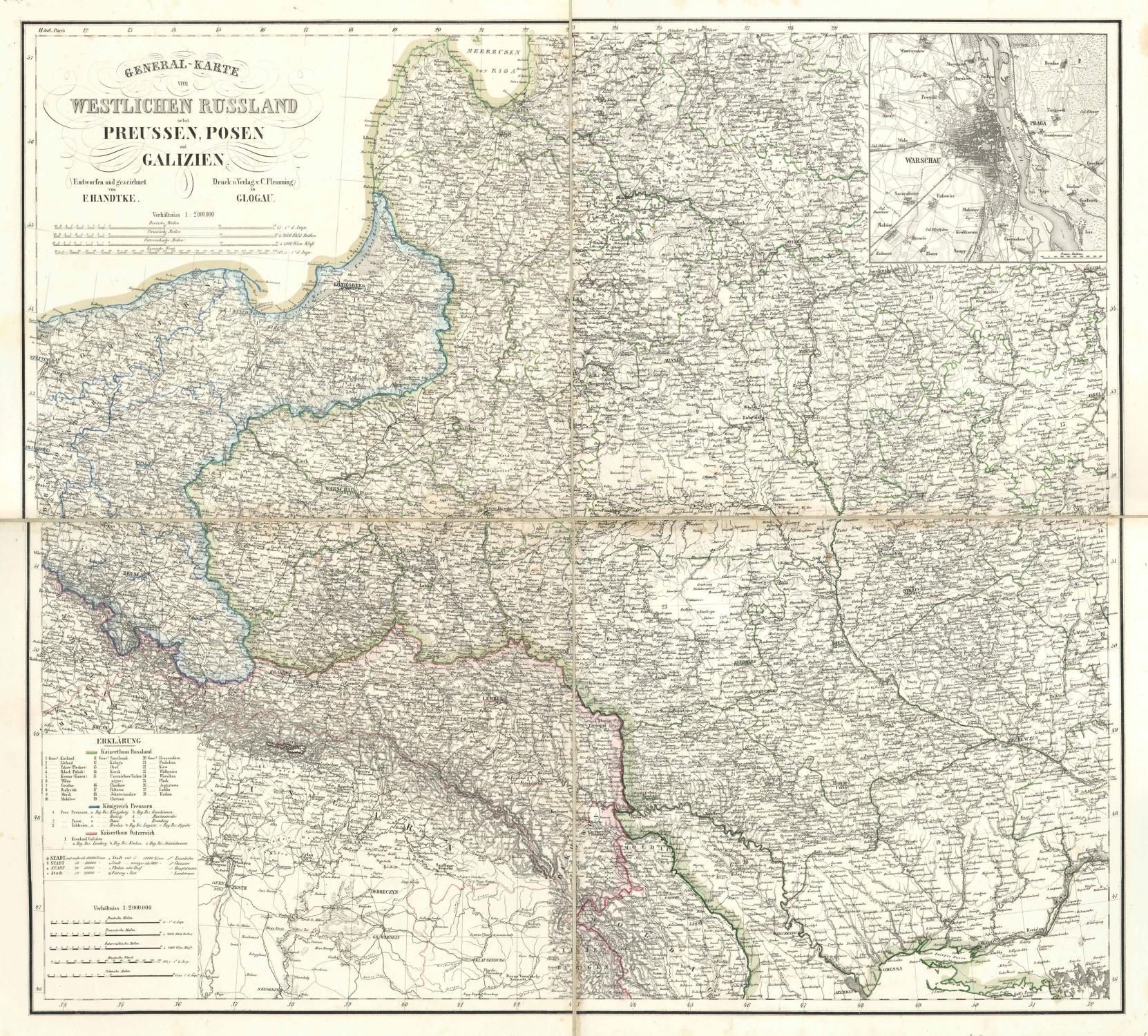 Galizien Karte.General Karte Vom Westlichen Russland Nebst