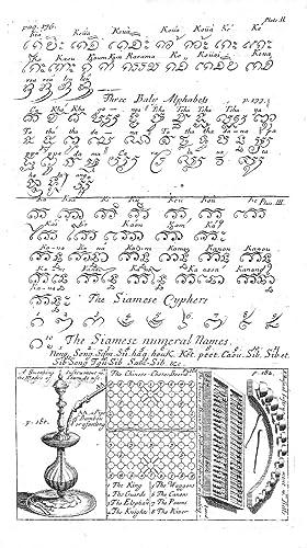 Siamesisches Alphabet ('Three Siamese Alphabets').: THAILAND: