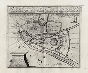 Stadtplan mit Befestigungsplan (Luyk de Hoofstad des: LIÈGE (Luik /