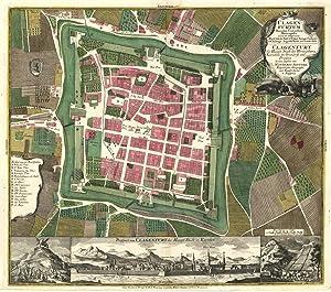 Stadtplan; darunter Gesamtansicht ('Clagenfurtum Ducatus Carinthiae Metropolis: KLAGENFURT / Kärnten