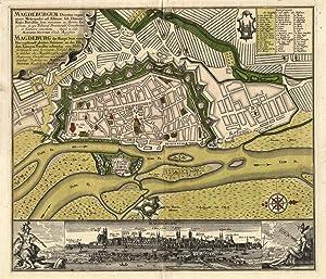 Stadtplan mit Befestigungsanlagen; darunter Gesamtansicht mit seitlichen: MAGDEBURG: