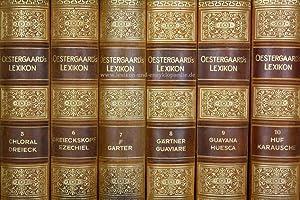 Oestergaards Lexikon, 20/21 Bände (A-Z & Die Vorzeit) Halbleder, selten, 1930-1937: ...