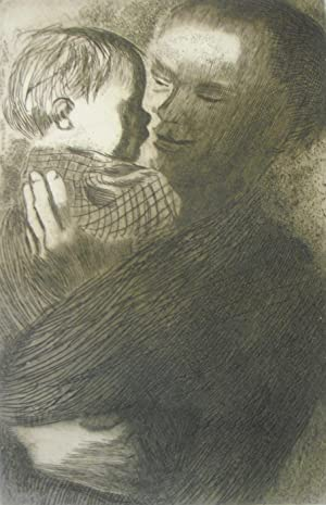 Mother and with Child in her arms'.: KATHE KOLLWITZ [1867-1945]
