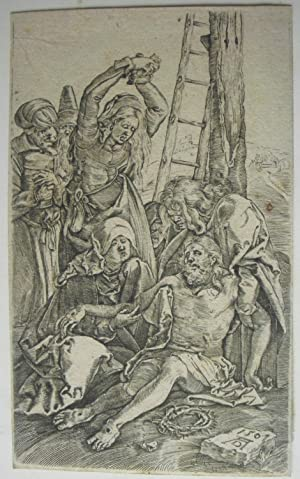 Lamentation. Christ on ground supported by St: After ALBRECHT DURER