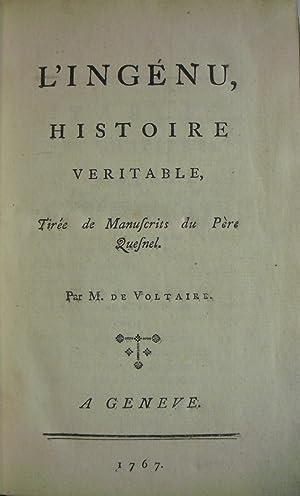 L'Ingenu, Histoire Veritable, Tiree de Manuscrits du: FRANCOIS VOLTAIRE [1694-1778]