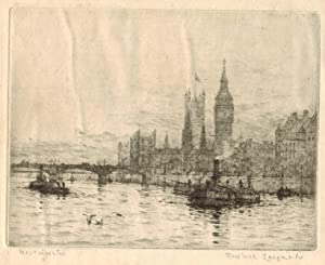 London Westminster from the River. Tugs in: ROWLAND LANGMAID [1859-1921]