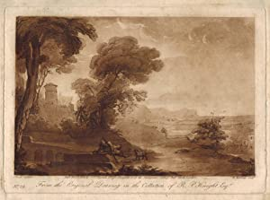 Landscape with man lying down by dog,: After CLAUDE LORRAIN