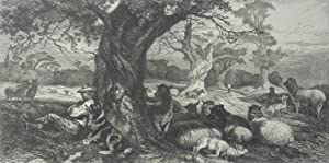 The Park'. Shepherd and dog sitting by: RICHARD ANSDELL [1815-1885]