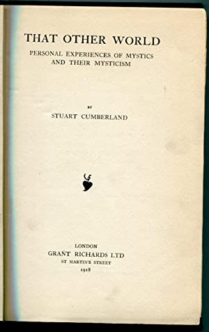 That Other World Personal experiences of Mystics and Their Mysticism: Cumberland, Stuart