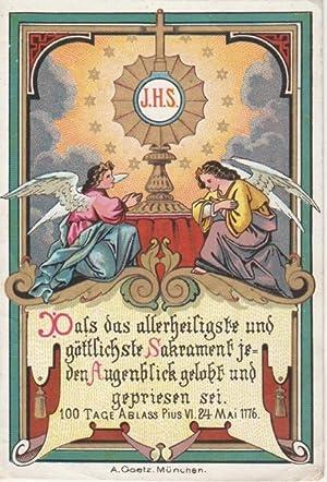 Primizbildchen / Heiligenbildchen: Farbige Chromolithographie mit Monstranz