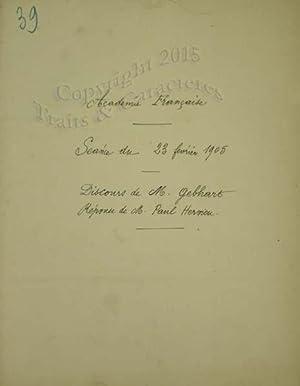 Discours de réception à l'académie francaise de: Gebhart (M.); Hervieu