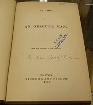 RECORD OF AN OBSCURE MAN: Mary Lowell Putnam)