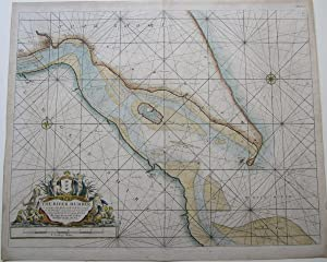 THE RIVER HUMBER, SUNK ISLAND, SPURN POINT - Antique Coloured Chart, 1684: THE RIVER HUMBER