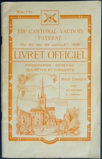 Livret officiel : Tir cantonal vaudois, Payerne: Cornanz, Ferdinand et
