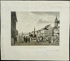Vue de la ville de Zurich depuis l?hôtel de l?Epée.: H�rlimann, J. [Johann] / Schmid, ...