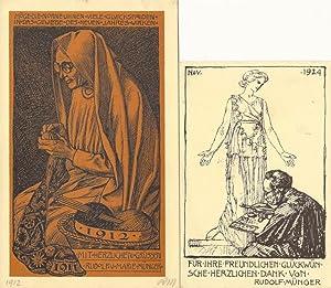 Neujahrsgruss 1912, resp. Für Ihre freundlichen Glückwünsche herzlichen Dank, 1924]....