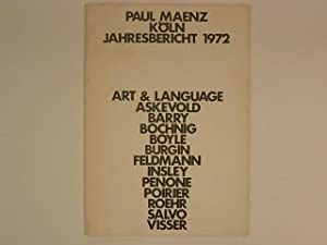 Paul Maenz Jahresbericht 1972. Art & Language Askevold Barry Bochnig Boyle Burgin Fledmann Insley...