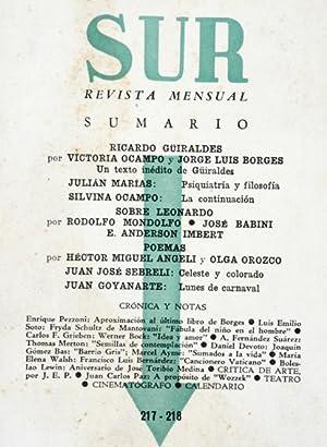 Revista SUR No. 217-218 Nov-Dic 1952. Jorge Luis Borges: Ricardo Güiraldes; Julián Mar&...