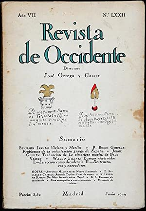 Revista de Occidente.- Ano VII. No. LXXII: P. Bosch Gimpera