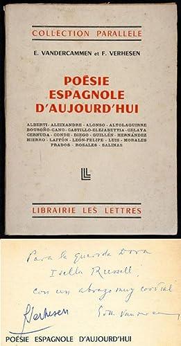Poésie Espagnole d'Aujourd'hui. Alberti, Aleixandre, Alonso, Altolaguirre,: E. Vandercammen &