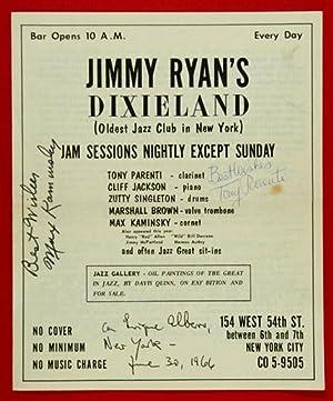 1966 June 30 JIMMY RYAN'S Club programme featuring TONY PARENTI, CLIFF JACKSON, ZUTTY ...
