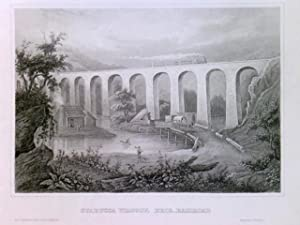 Original Stahlstich / Steel engraved print, Starucca Viaduct, Erie-Railroad, Erie/Pennsylvania -S...