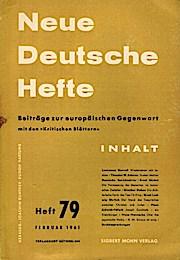 Neue Deutsche Hefte. Beiträge zur europäischen Gegenwart;: Günther, Joachim und