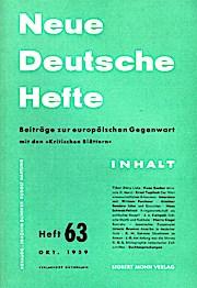 Neue Deutsche Hefte. Beiträge zur europäischen Gegenwart: Günther, Joachim und