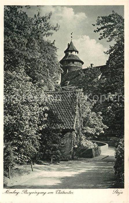 Postkarte Carte Postale Nürnberg Burgeingang am Vestnertor Stadt der Reichsparteitage Kupfertiefdruck