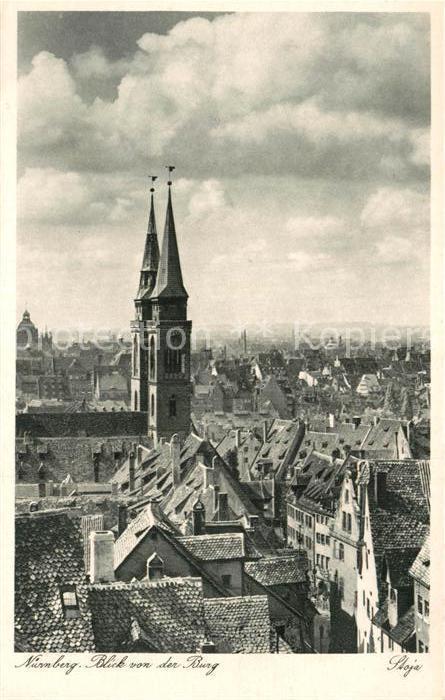 Postkarte Carte Postale Nürnberg Blick von der Burg Kirche Stadt der Reichsparteitage Kupfertiefdruck